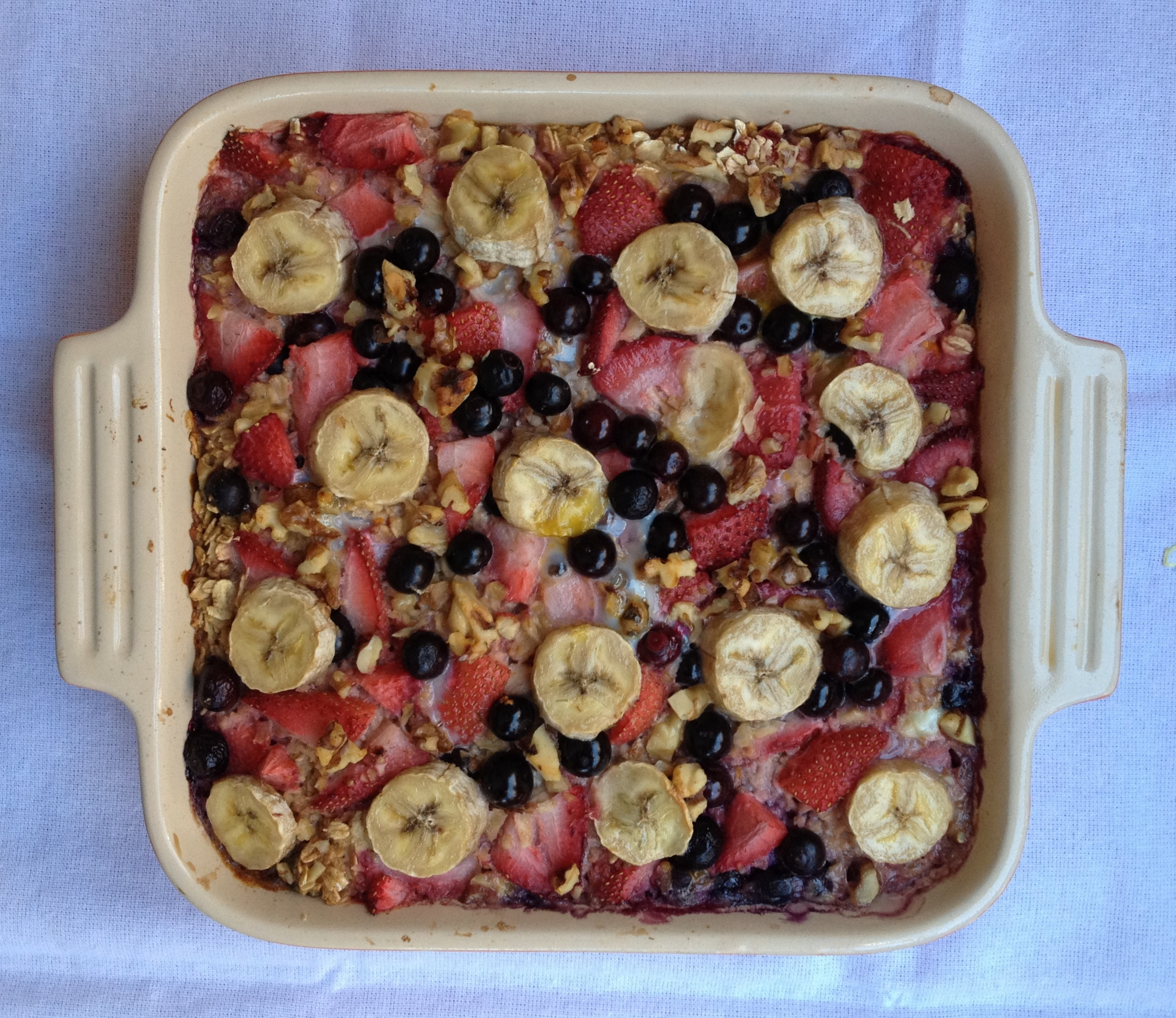 Baked Oatmeal with Strawberries, Blueberries, and Banana, from ...