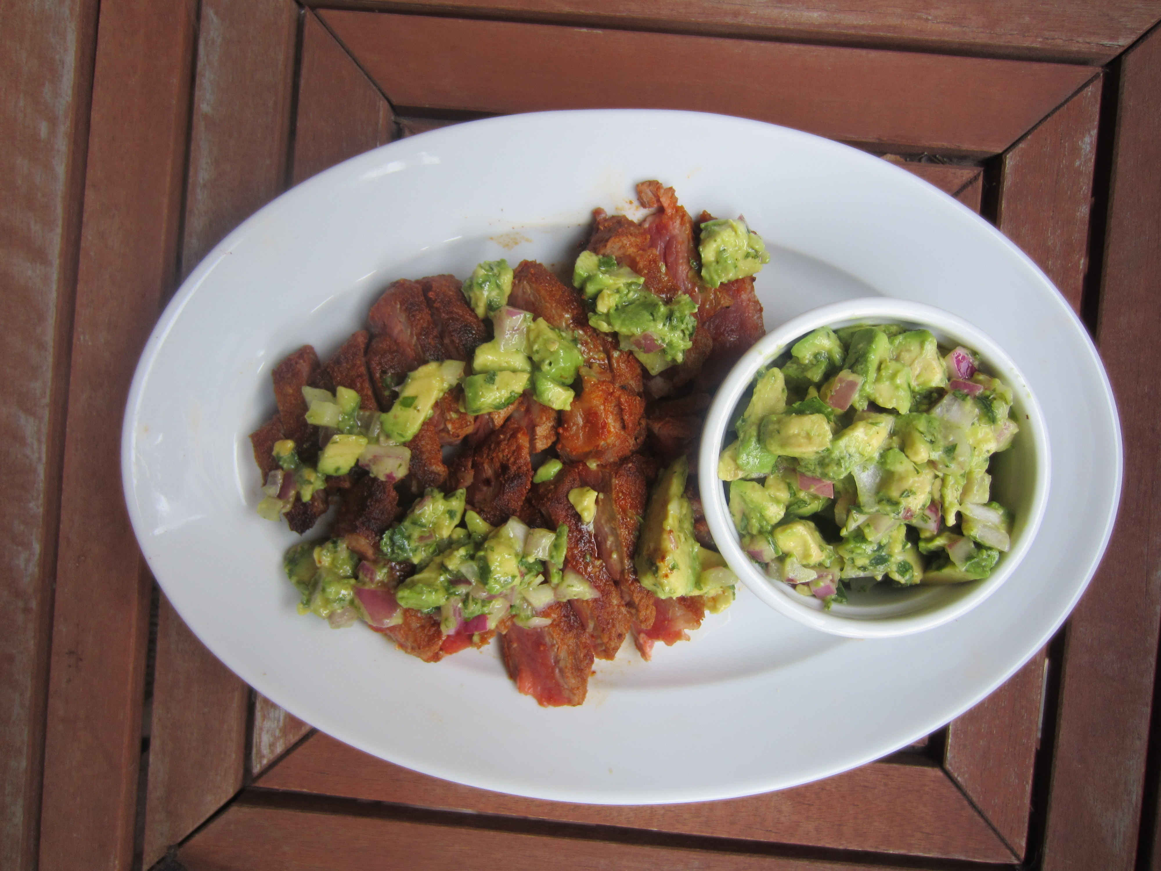 Spice-Rubbed NY Strip Steak with Avocado Lime Salsa
