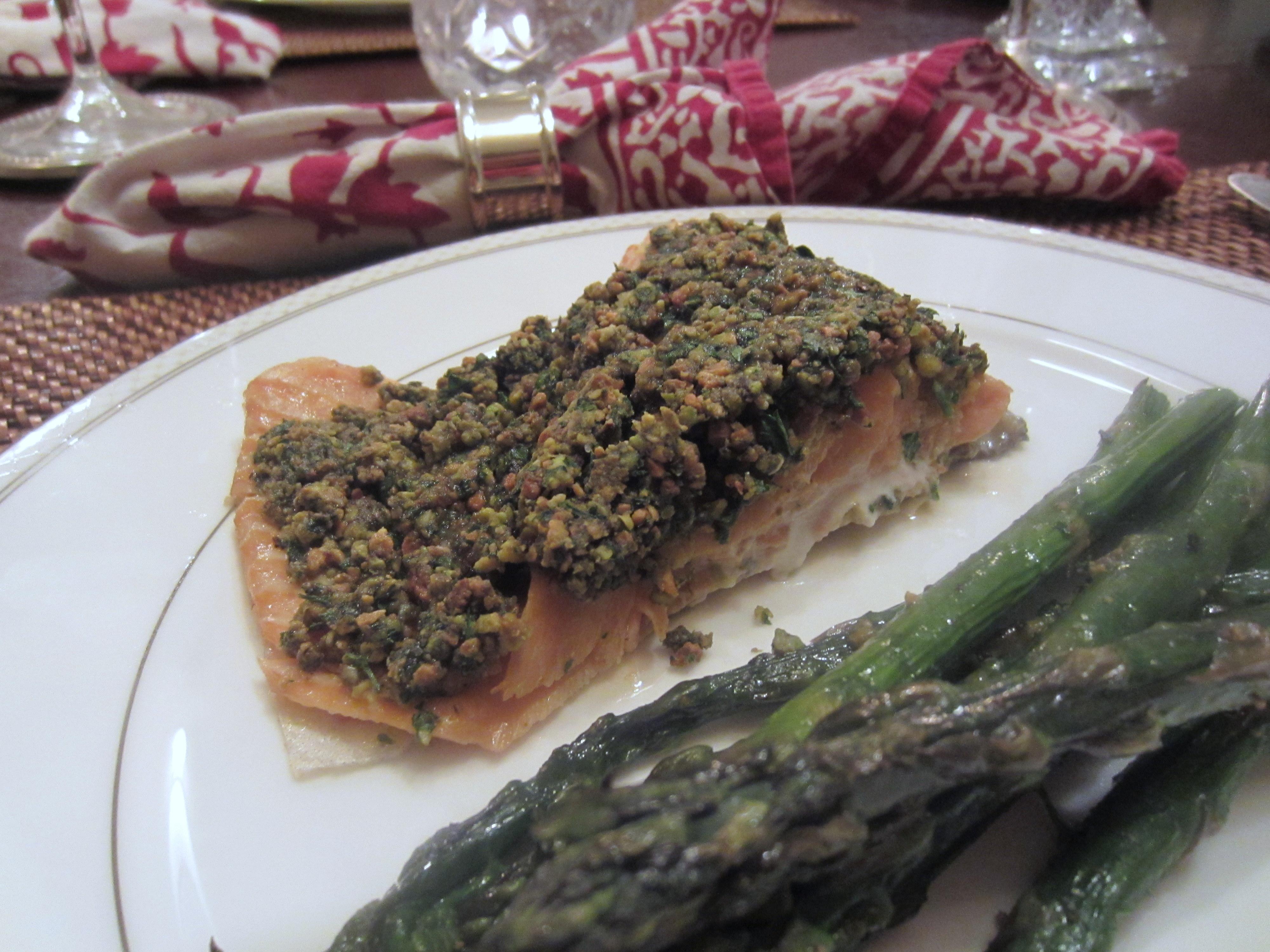 Pistachio crusted salmon megan opel interiors for Pistachio crusted fish