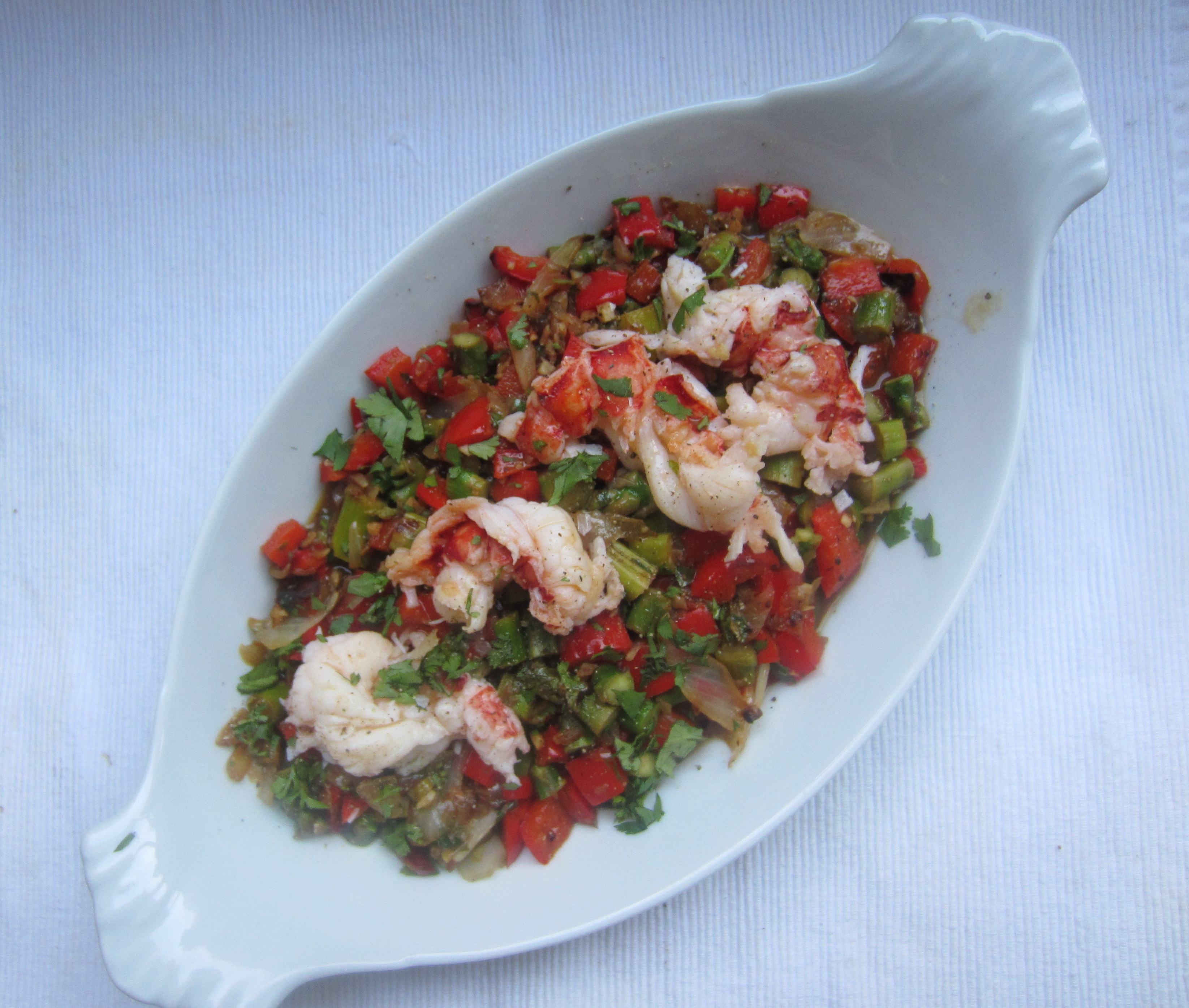 Seared Lobster Tails with Asparagus and Red Pepper SautΓ©