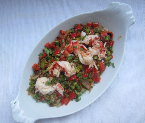 Seared Lobster Tails with Asparagus and Red Pepper Sauté