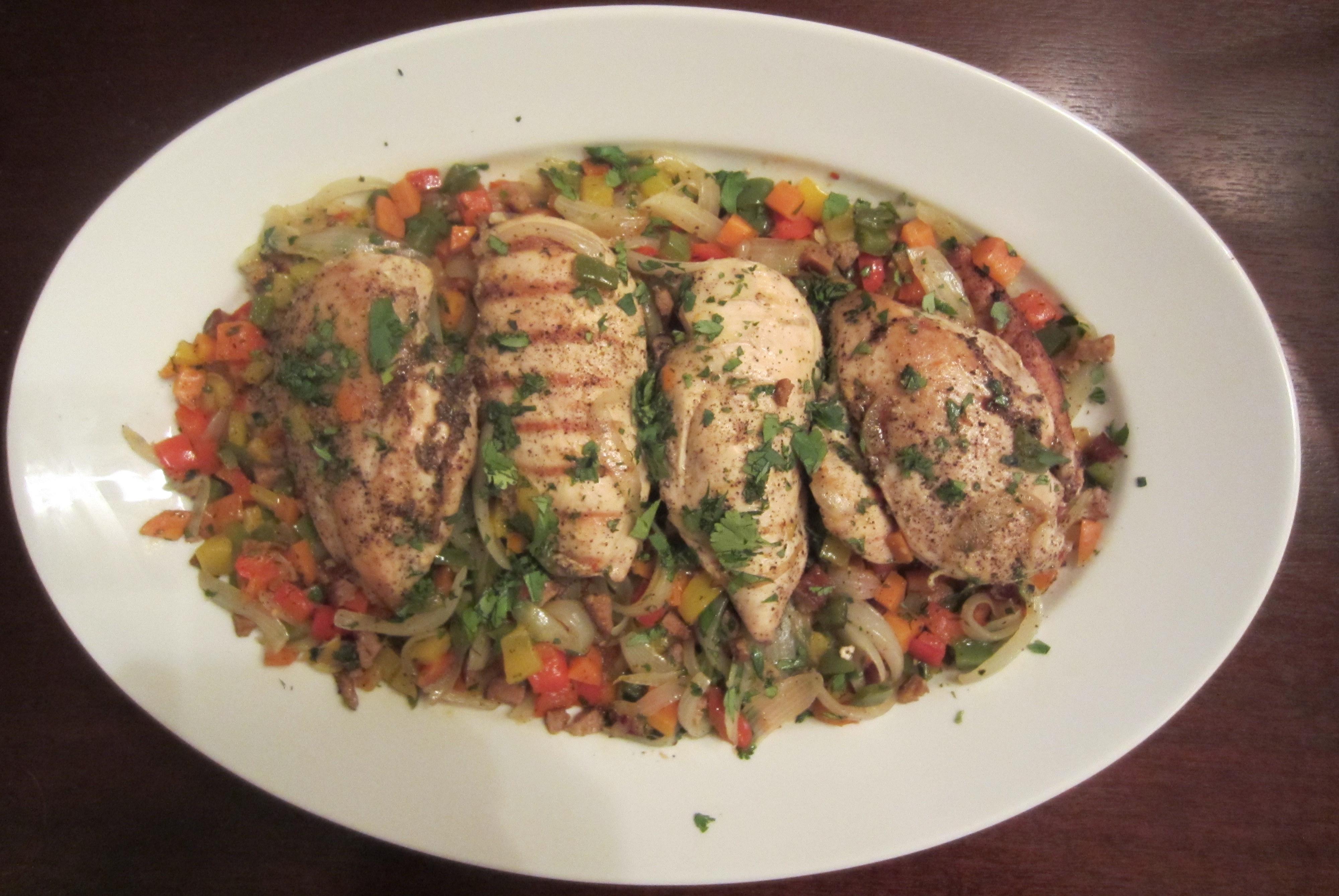 chicken with chorizo pepper confetti