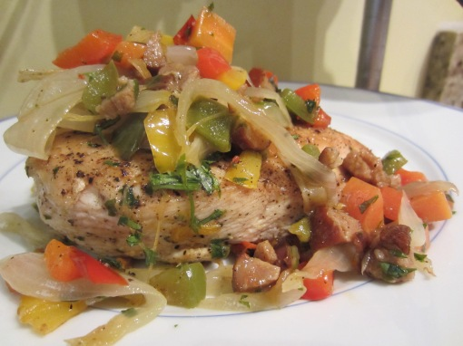 Chicken with Chorizo-Pepper Confetti