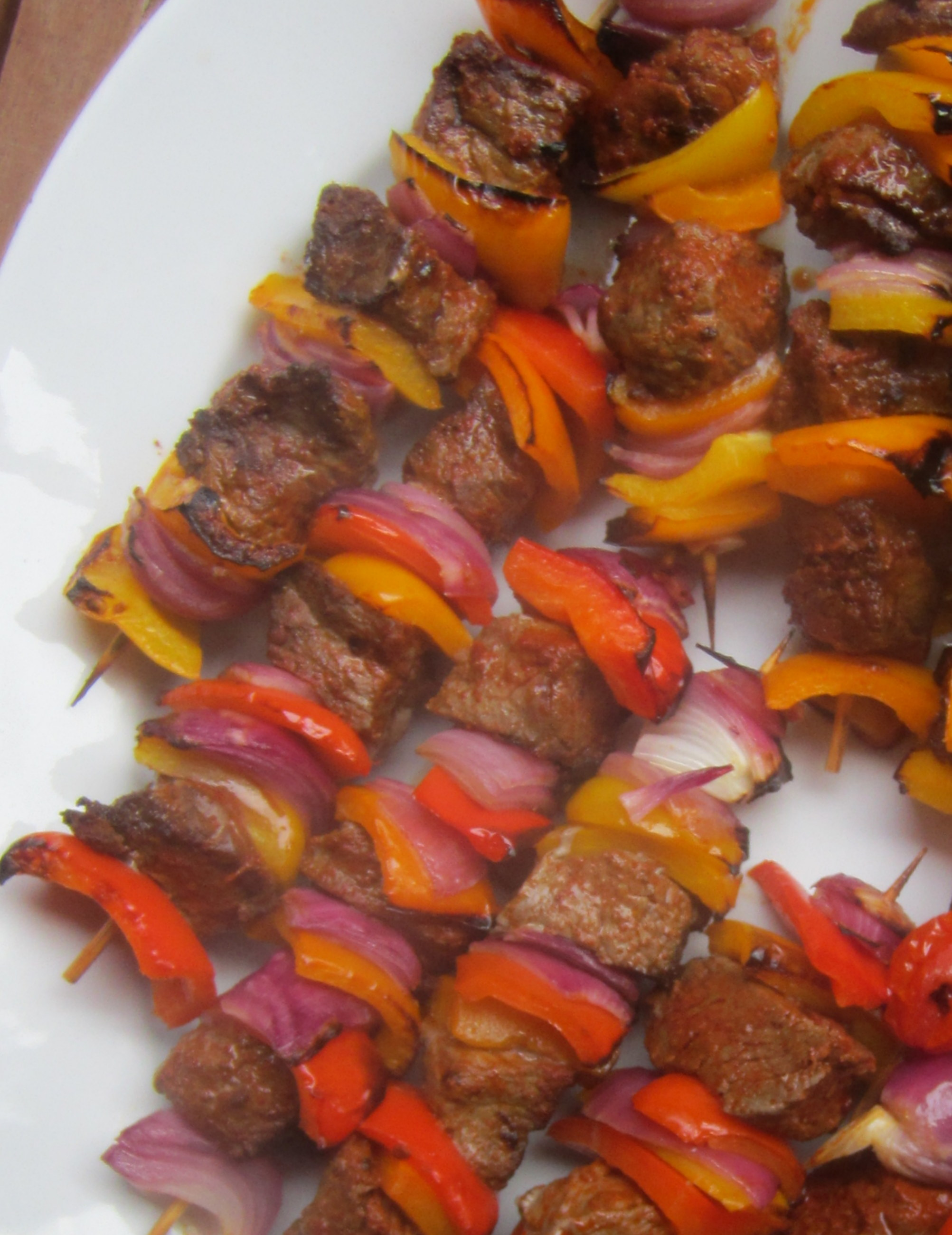 Broiled Beef and Veggie Skewers with Avocado Dipping Sauce