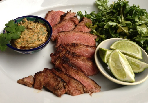 Grilled Ribeye Steak with Cilantro-Lime-Garlic Butter and Arugula Salad with Garlic Oil