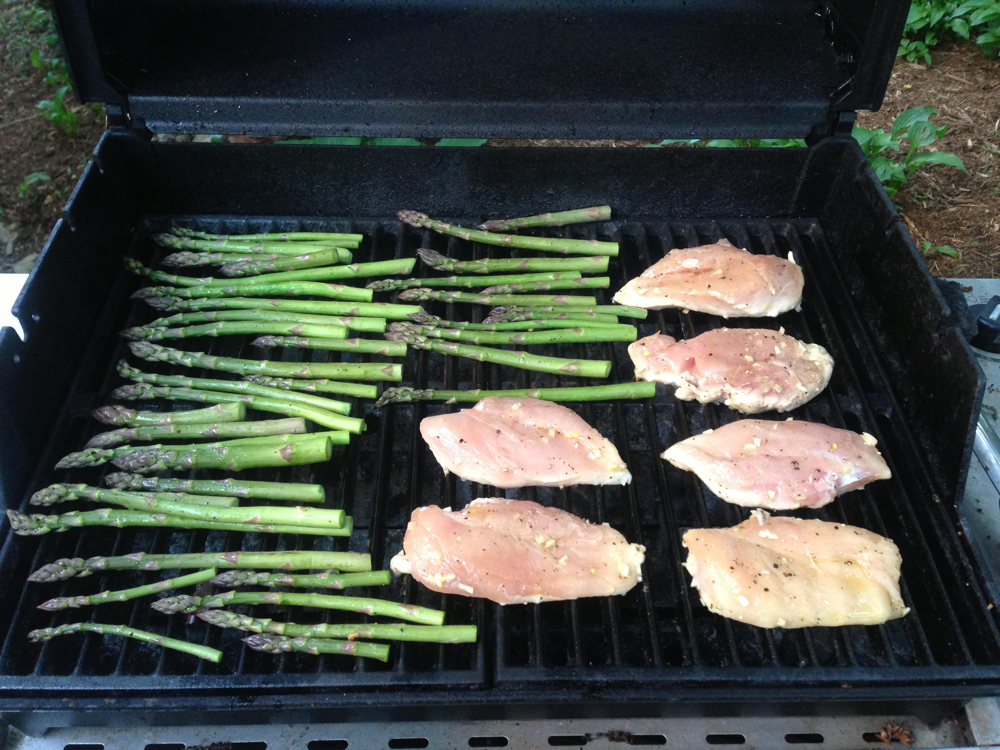 Grilled Garlicky Chicken with Asparagus and Avocado Bruschetta