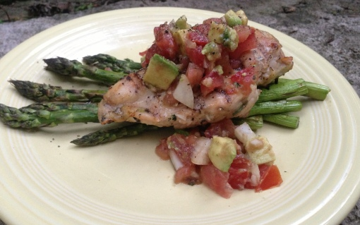 Grilled Garlicky Chicken with Asparagus and Avocado Bruschetta