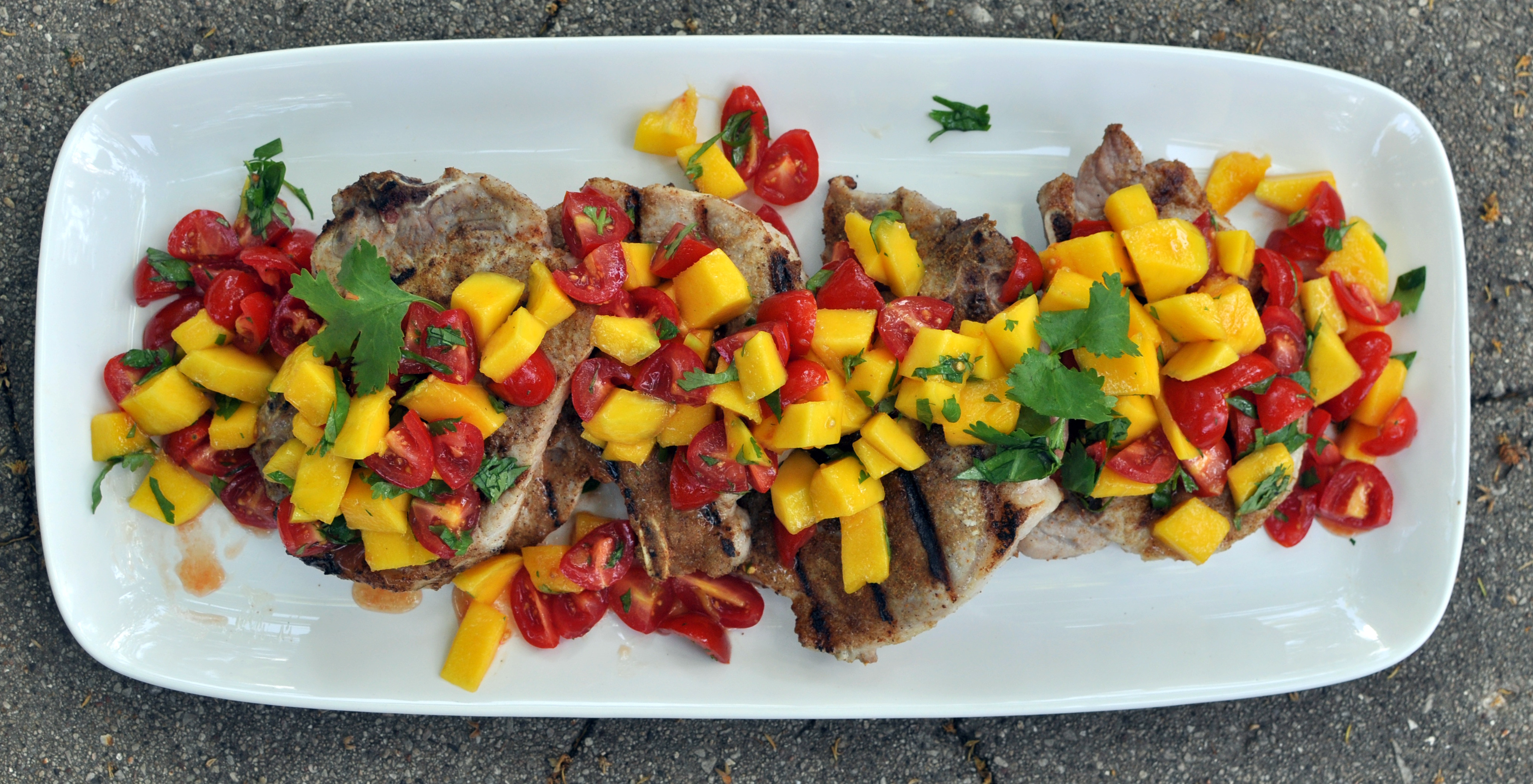 Pork Chops with Caribbean Rub and Mango Salsa