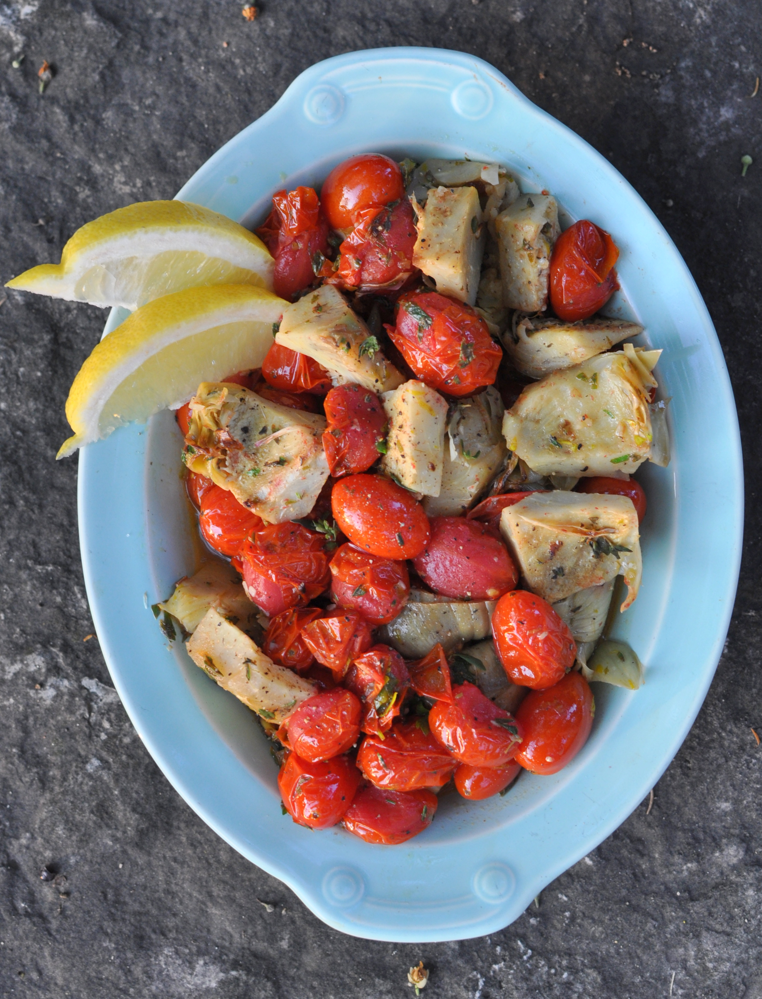 Sautéed Artichoke Hearts and Roasted Tomatoes