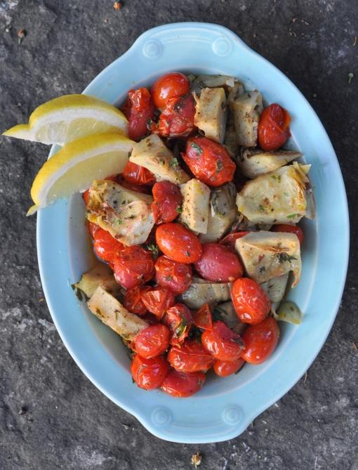 Sautéed Artichoke Hearts and Roasted Tomatoes